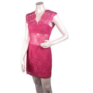 BCBG MaxAzria  Pink Lace Cut Out Mini Dress Sz 6